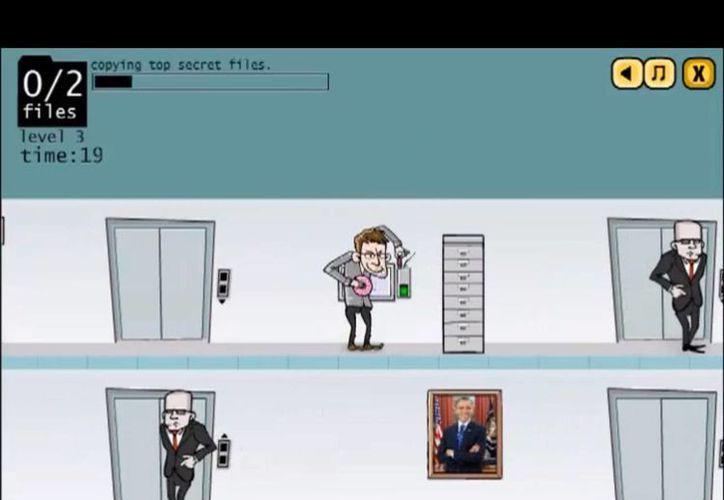 Para ganar en  Snowden's leak: the game, hay que copiar todos los archivos sin dejarse atrapar por los agentes de la NSA. (YouTube)