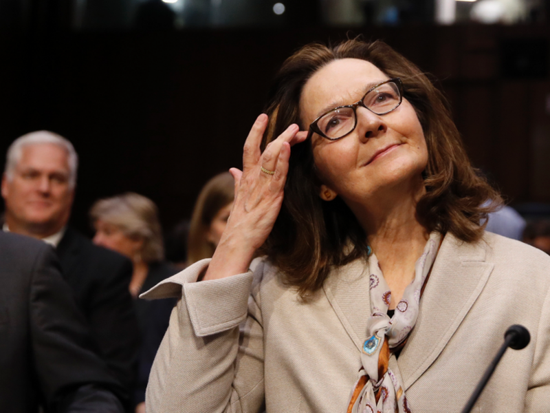 Gina Haspel arrives to her confirmation hearing at the Senate Intelligence Committee on Capitol Hill in Washington.