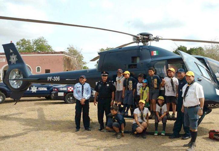 La Policía Federal se unió al evento escultista en el día de la clausura de la semana Scout. (Milenio Novedades)
