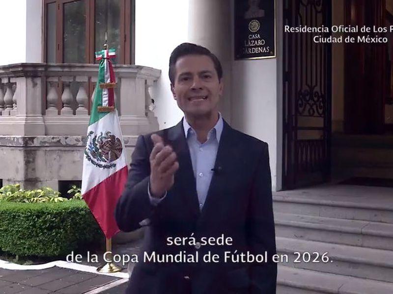 El presidente Enrique Peña Nieto se manifiesta feliz porque México consiguió ser sede otra vez de un Mundial (Captura de pantalla de Twitter)