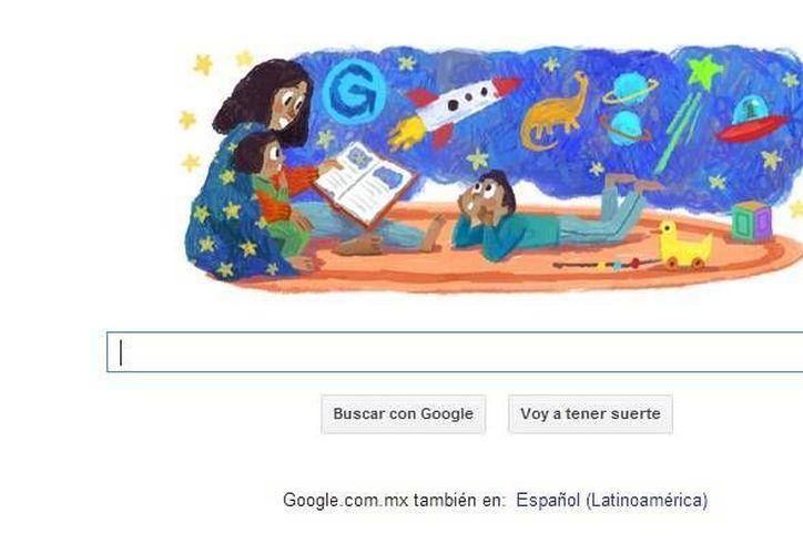 El buscador de Google colocó una imagen de una madre mientras lee un cuento a sus hijos. (Google)