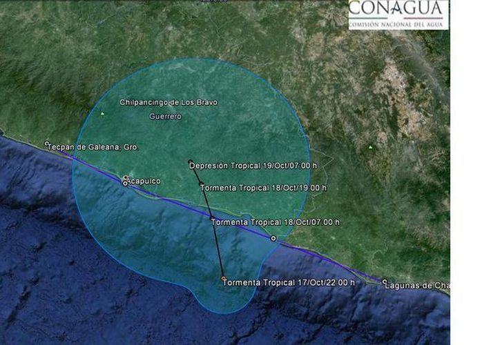 Posible trayectoria que seguirá la tormenta tropical Trudy del Pacífico. (Conagua)