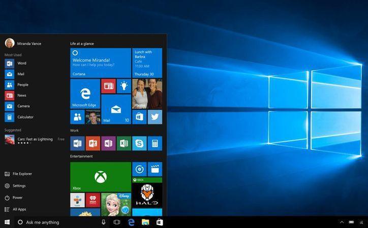 Captura de pantalla que muestra el inicio de Windows 10. Microsoft anunció que la versión para clientes empresariales estará disponible hasta el 1 de agosto. (AP)
