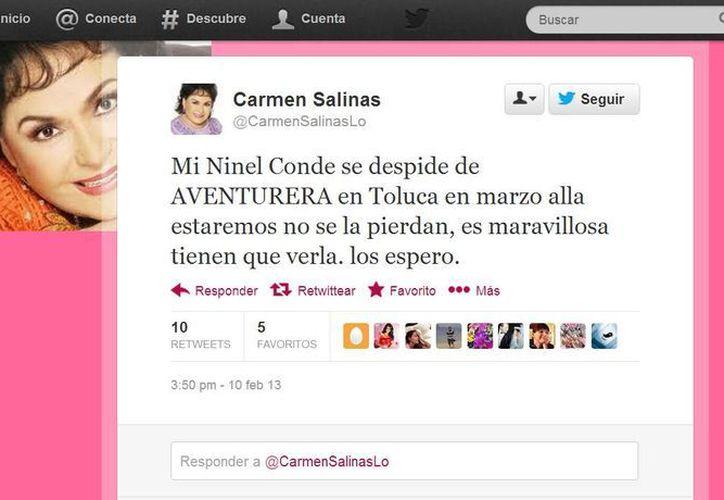 Carmen Salinas dijo anteriormente que le gustaría que Paty Navidad regrese a la obra. (Captura de pantalla)