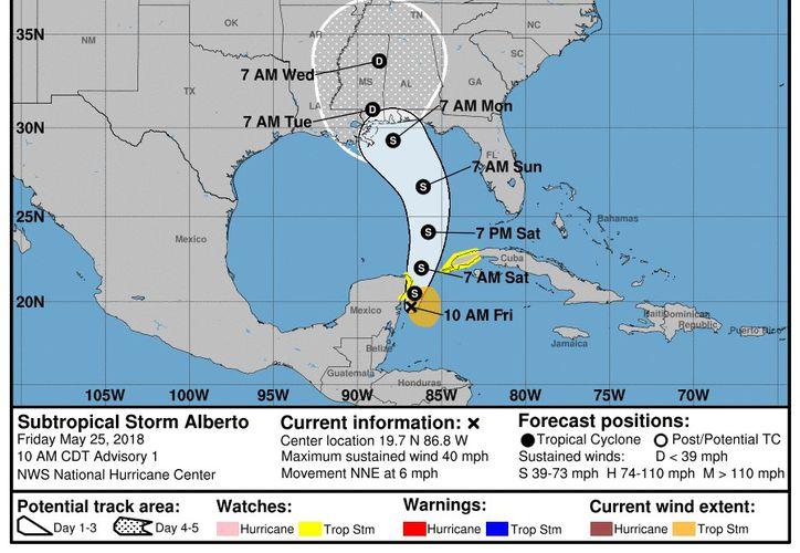 Esta es la primera tormenta de la temporada, y se produce antes del inicio oficial de la temporada de huracanes. (NOAA)