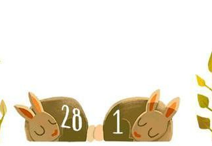 En su doodle, Google destaca a dos conejos que representan los últimos días de febrero y luego se interpone un tercero el cual representa el día 29. (Google)