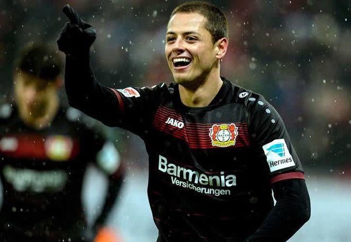 Javier Hernández anotó  dos goles en el duelo del sábado pasado ante el equipo del mexicano Marco Fabián.(Foto tomada de Facebook/Bayer Leverkusen)