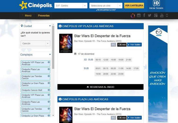 """La cadena de cines abrió la preventa para el estreno de """"Star Wars. El Despertar de la Fuerza"""". (Captura de pantalla)"""