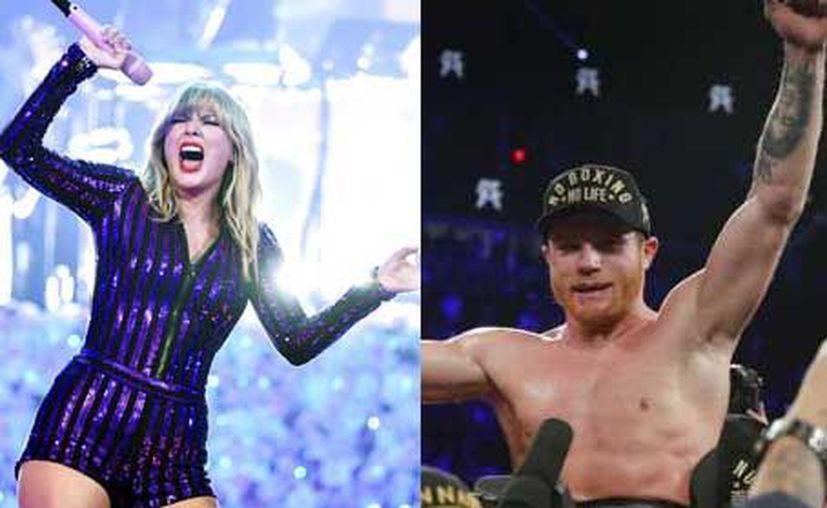 """La cantante Taylor Swift encabeza la lista Celebrity 100 de Forbes; Saúl """"El Canelo"""" ocupa el décimo puesto. Álvarez (AP)"""