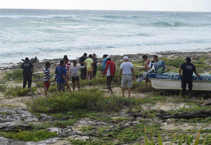 Tras sortear las primeras olas se alejaron unos 300 metros de la costa. (Gustavo Villegas/ SIPSE)