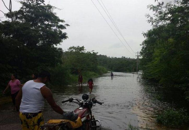 La carretera Bacalar-Reforma se encontraba obstruido por aproximadamente 50 cm de agua. (Javier Ortiz/SIPSE)