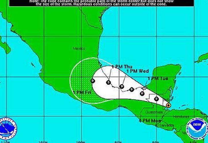 Posible trayectoria de la depresión tropical número 2 del Atlántico. (CNH)