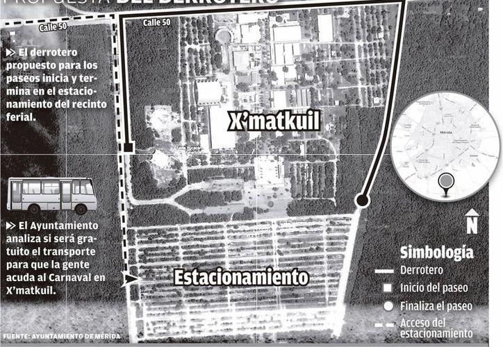 El derrotero que se propone para el Carnaval en Xmatkuil. (Mario Escalante/SIPSE)