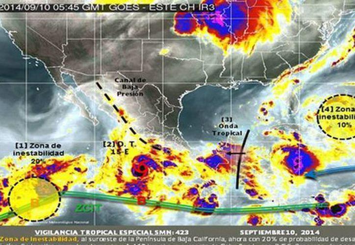 El Meteorológico exhortó a la población en general a mantener precauciones ante la depresión tropical 15-E. (smn.conagua.gob.mx)