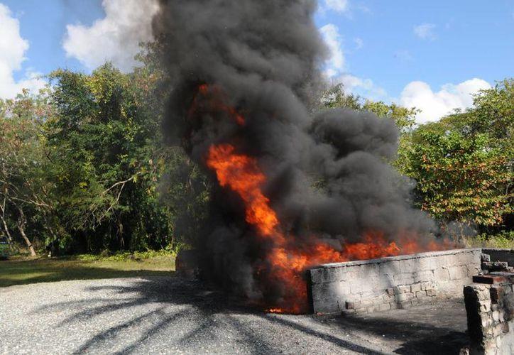 La cantidad de droga incinerada fue: 55 kilos 153 gramos 100 miligramos de marihuana. (Contexto/Internet)