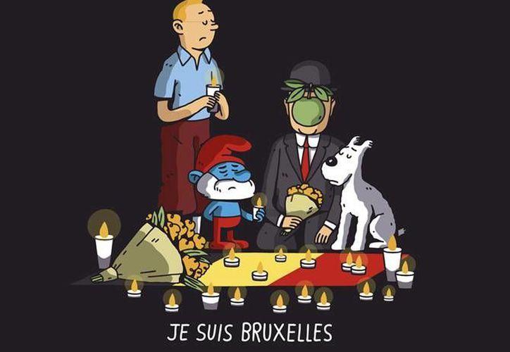 Diferentes personajes dieron muestra de la solidaridad por parte de los internautas hacia Bélgica, luego de este martes sufriera una serie de atentados que dejaron un saldo de 34 muertos y más de 180 heridos hasta el momento.(Facebook: Pictoline y Le Monde.fr)