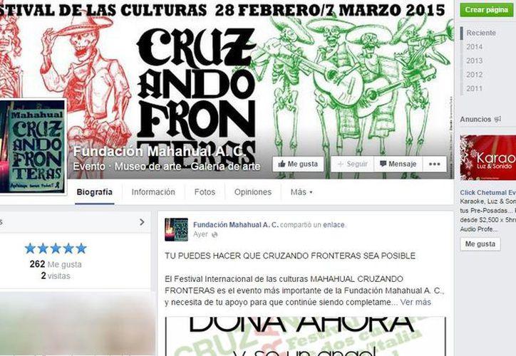 Página de Facebook del Festival Mahahual Cruzando Fronteras 2015. (Redacción/SIPSE)