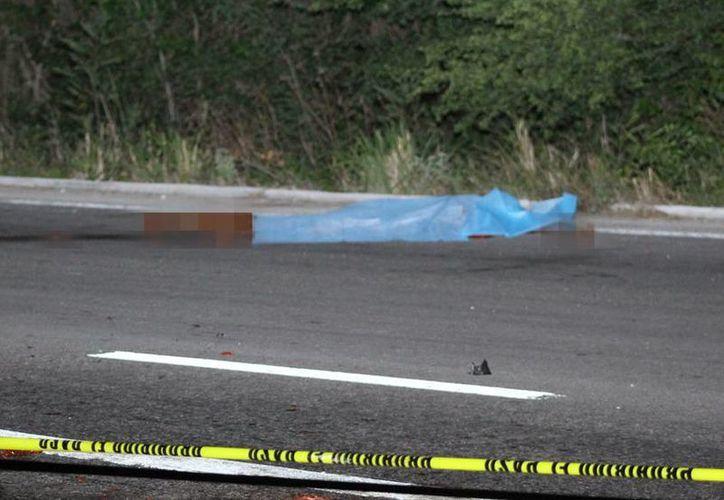 El cadáver quedó hecho pedazos sobre la carretera Mérida-Valladolid. (Milenio Novedades)