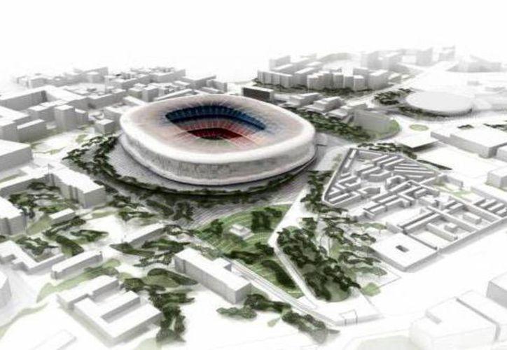 Imagen facilitada por el FC Barcelona de la recreación del posible proyecto de ordenación del nuevo Camp Nou, denominado <i>Espai Barça</i> (espacio Barça). (EFE)