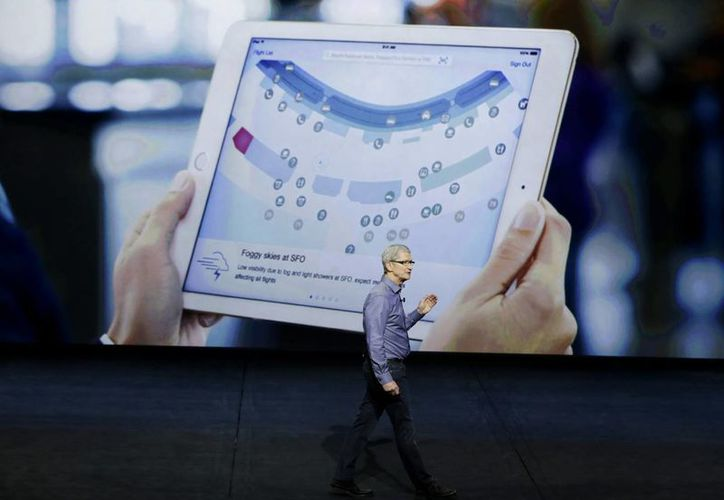 Tim Cook, CEO de Apple durante el evento que se realiza hoy en San Francisco. (AP)