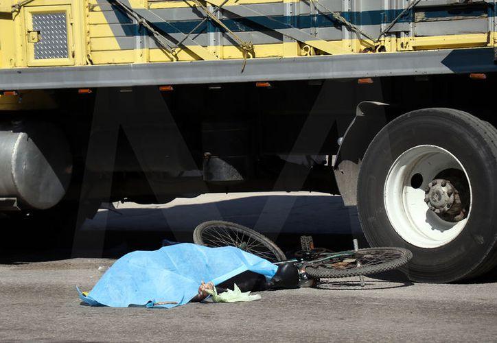 El trailero no esperó a tener más espacio y avanzó llevándose por delante al ciclista.