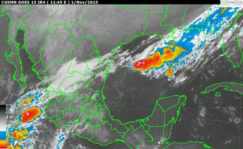 La depresión tropical tiene alto potencial de evolucionar y convertirse en la tormenta tropical Sonia. (smn.conagua.gob.mx)