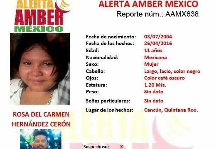 Activan la Alerta Amber México por Rosa del Carmen Hernández Cicerón. (Redacción/SIPSE)