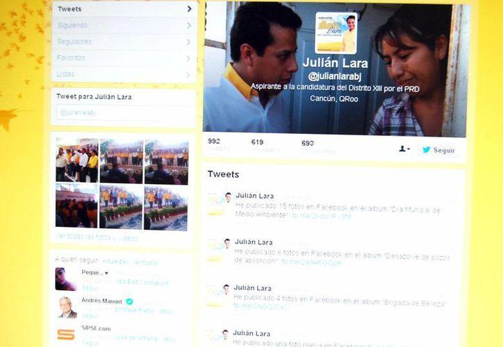 El candidato perredista a diputado, Julián Lara Maldonado, está muy activo en las redes sociales. (Tomás Álvarez/SIPSE)