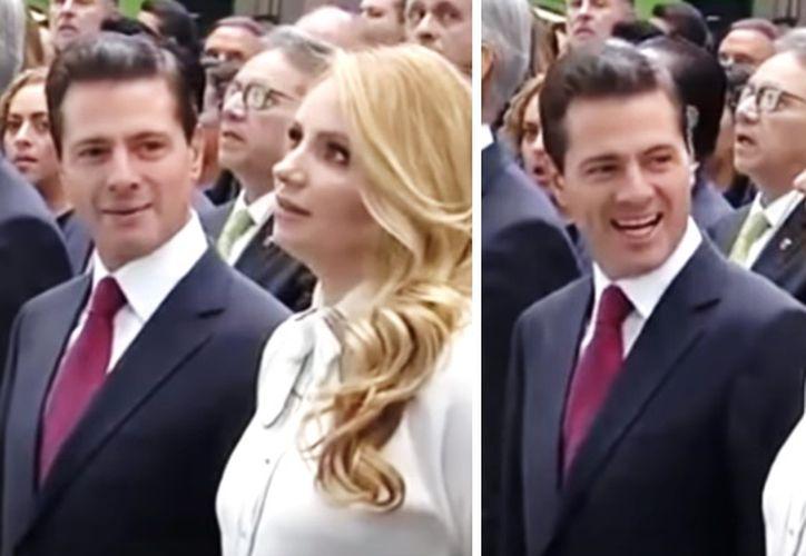El presidente le dio una mirada de 'complicidad' a su esposa. (Internet)