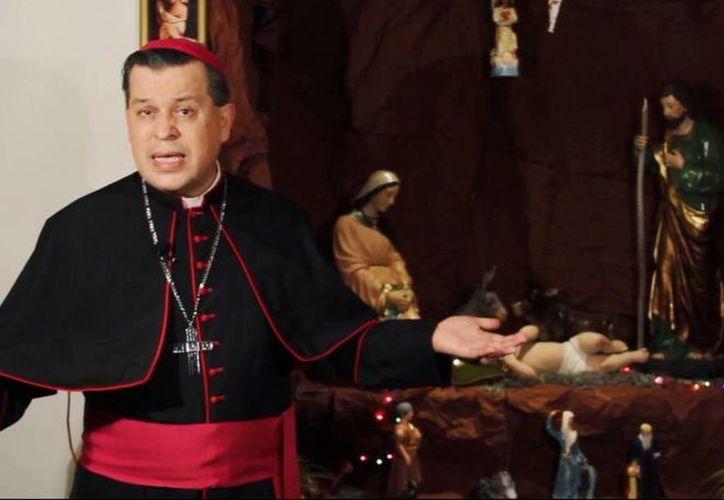 El Arzobispo de Yucatán, Gustavo Rodríguez, emitió este martes un mensaje de Año Nuevo. (Captura de pantalla de Youtube)