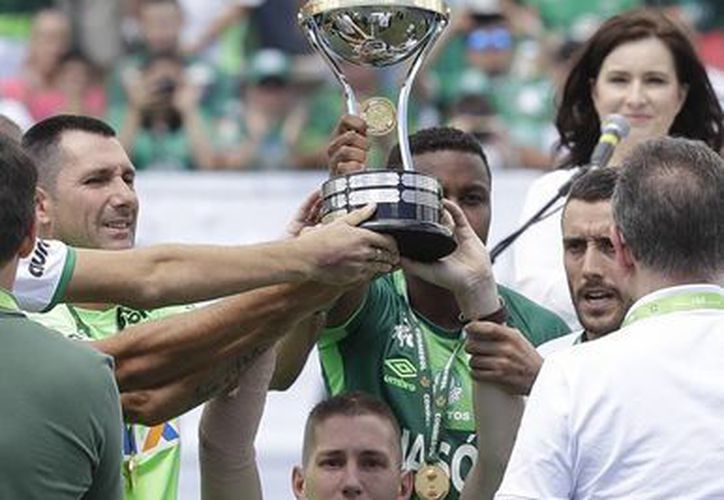 Neto, del Chapecoense, levantó el trofeo de Campeón de la Copa Sudamericana, frente a 20 mil hinchas que abarrotaron el estadio Arena Condá en Chapecó. (AP)