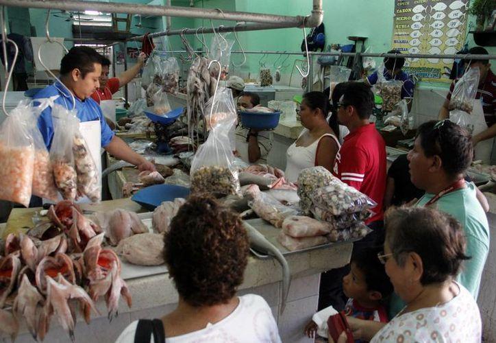 Vendedores de mariscos del mercado Lucas de Gálvez ya piensan en julio y agosto. (SIPSE)
