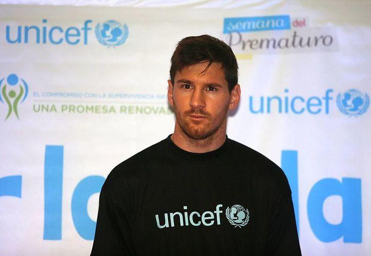 Lionel Messi participa en la presentación de una campaña de Unicef, denominada Semana Prematuro. (EFE)