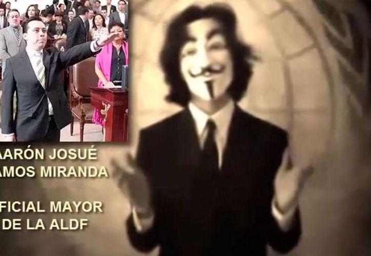 Captura de pantalla del video de Anonymous que acusa al oficial mayor de la Asamblea del DF, Aarón  Ramos Miranda, de tener nexos con el crimen organizado. (YouTube)