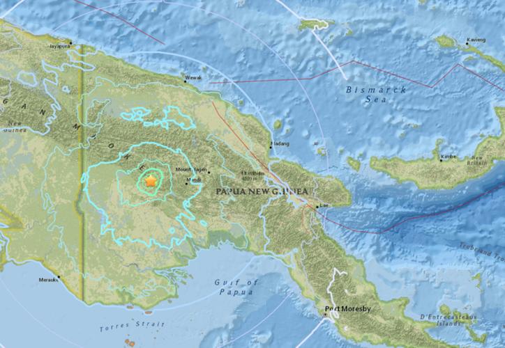 El hipocentro del terremoto se ubicó a una profundidad de 16 kilómetros, y el epicentro a unos 95 kilómetros al oeste de la ciudad de Mendi. (usgs.gov)