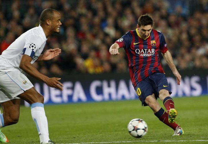 Messi anotó una vez ante el Manchester City y llegó hoy a 66 goles en la Liga de Campeones de Europa, a sólo cinco del máximo romperredes histórico, el español Raúl González, exjugador del Real Madrid. (Agencias)