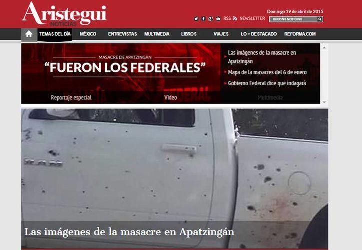 Imagen del sitio web de Aristegui Noticias que tuvo el día de ayer un ataque cibernético. (Captura de pantalla)