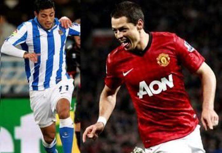 'Chicharito' y Vela destacaron este año en sus respectivos clubes europeos. (Milenio)