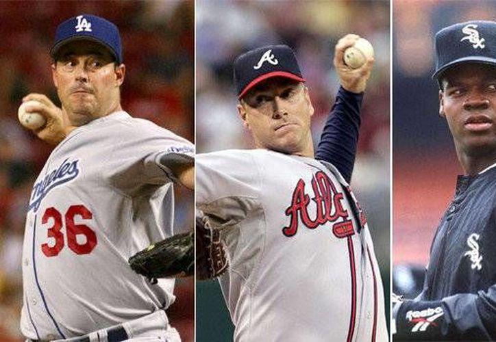 Desde la izquierda: Greg Maddux, Tom Glavine y Frank Thomas, candidatos al Salón de la Fama del beisbol en EU (latimes.com)