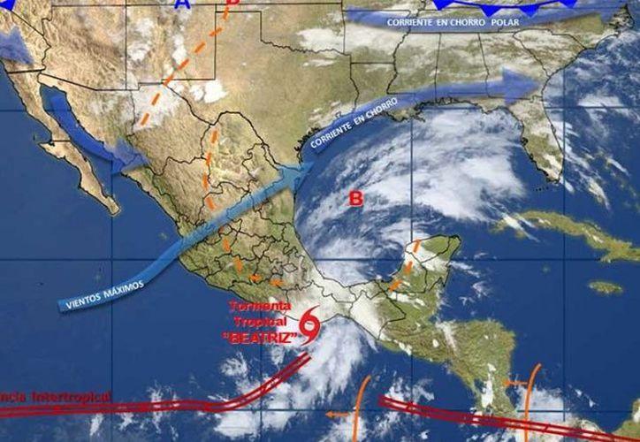La tormenta tropical 'Beatriz' tocó tierra oaxaqueña el jueves por la noche. (Conagua)