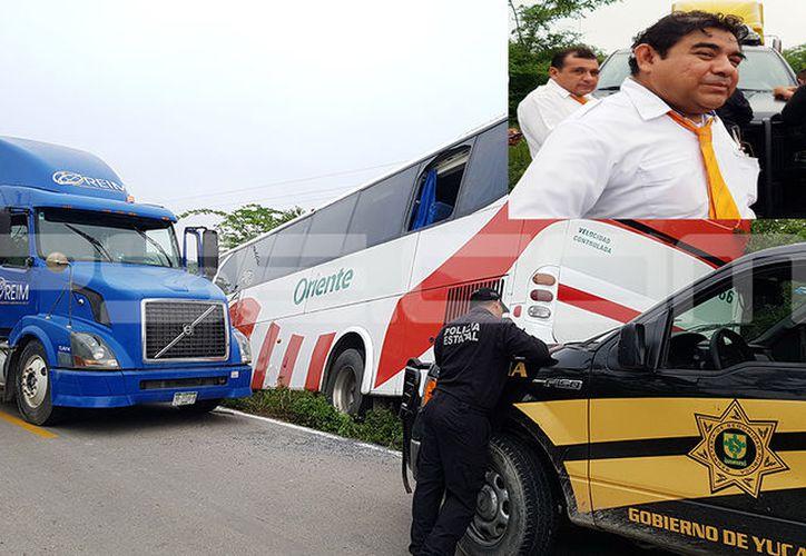 El chofer Ángel Uribe Evia, quien evitó el accidente. (Victoria González/SIPSE)