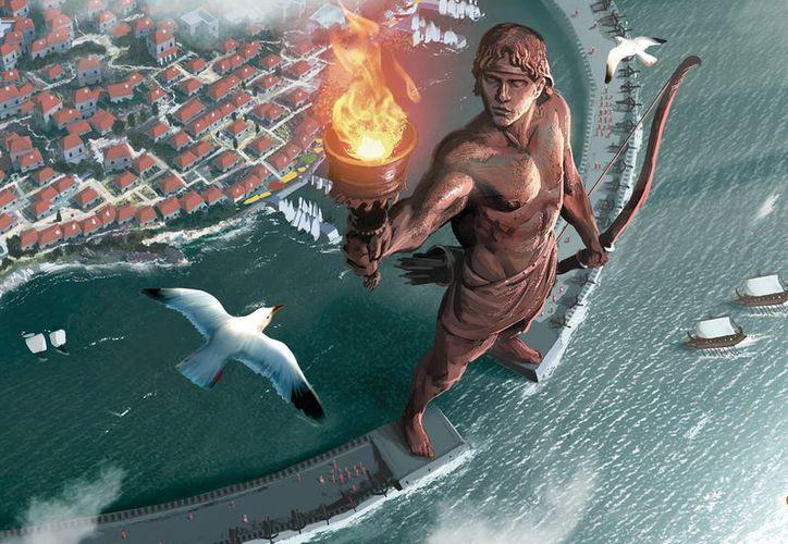 La estatua del Coloso de Rodas, construida en la isla de Rodas (Grecia) en el 292 a.C. (Foto: Contexto)