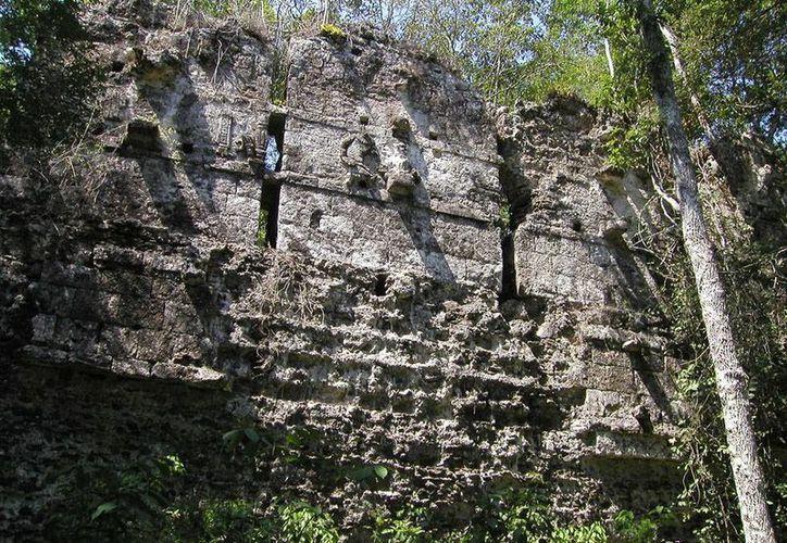 Investigadores extranjeros hallaron en el  sector norte de la Reserva de la Biósfera de Calakmul La Lagunita, una ciudad maya que estuvo perdida por varios años. La foto corresponde a una de las estructuras de los vestigios en Calakmul, utilizada exclusivamente como contexto. (Notimex/Archivo)