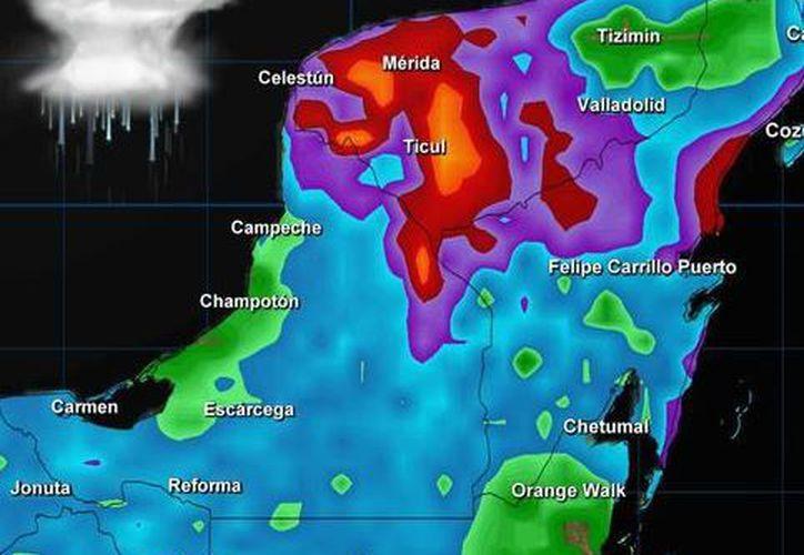 Territorios de la península donde actualmente hay lluvia. (Conagua)