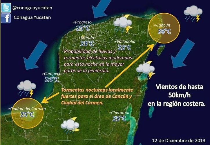 Gráfico sobre las condiciones del tiempo en la Península de Yucatán para este jueves 12 de diciembre. (Conagua)