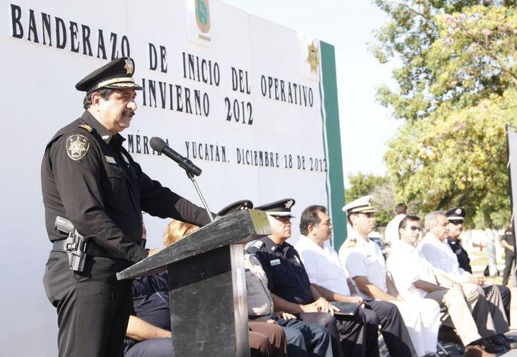 El titular de la SSP, Luis Felipe Saidén, en el banderazo de operaciones de Fin de Año. (Juan Albornoz/SIPSE)