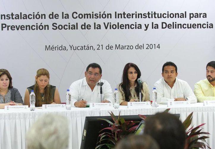 Integrantes de la Comisión Interinstitucional para la Prevención Social de la Violencia y la Delincuencia. (Milenio Novedades)