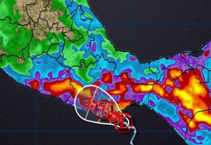 la depresión tropical se ubica a 75 kilómetros al sur de Salina Cruz y a 105 al este-sureste de Bahías de Huatulco. (Conagua)