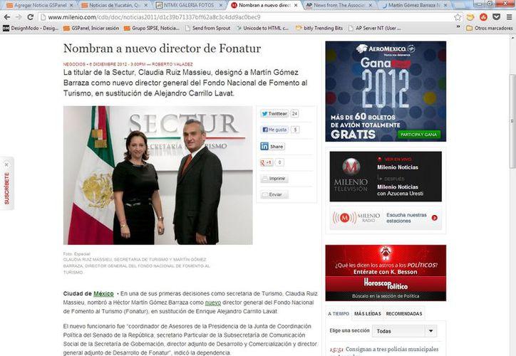 """Gómez Barraza fue """"coordinador de Asesores de la Presidencia de la Junta de Coordinación Política del Senado. (Captura de pantalla de Milenio)"""