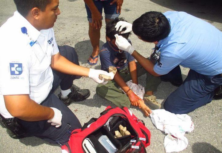 El niño atropellado resultó sólo con golpes, pero se encuentra en observación en el hospital para descartar daños mayores.  (Redacción/SIPSE)